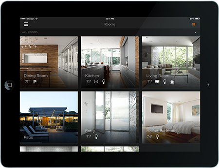 Black ipad wth smart home technology app
